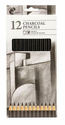 Pack Of 12 Chiltern Arts Charcoal Pencils Draws Tones & Shades