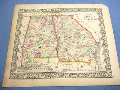 1865 Colored Map - GEORGIA & ALABAMA - Colored Counties, Civil War Year