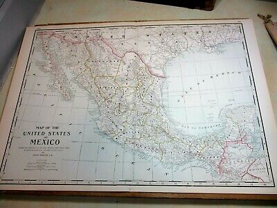 "1890 Color Map ~ UNITED STATES of MEXICO ~ 22 3/4"" x 16 3/8"""