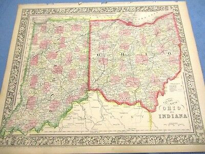 1865 Colored Map - OHIO & INDIANA - Colored Counties, Civil War Year