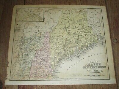 1876 Colored Map ~ MAINE, NEW HAMPSHIRE, VERMONT ~ Cowperthwait & Co. Publisher