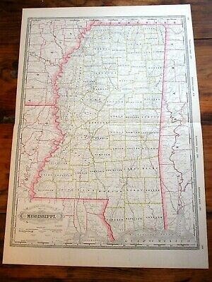 "1890 Railroad & County Map ~ MISSISSIPPI ~ 22 3/8"" x 16 1/4"" ~  Colored Map"
