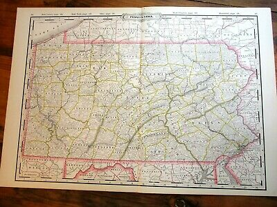 "Cram's 1890 Colored Map ~ PENNSYLVANIA ~ 22 3/8"" x 16""  Railroad & County Map"