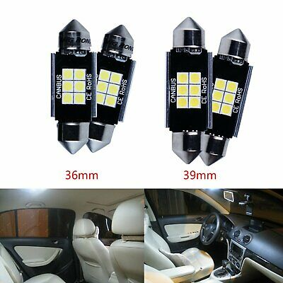 Fizzmo 2x 36mm 37mm NUMBER PLATE INTERIOR WHITE 6 SMD LED 239 C5W FESTOON BULBS