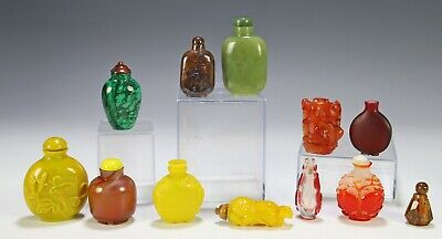 Lot of Various Chinese Snuff Bottles Glass Stone Amber Etc
