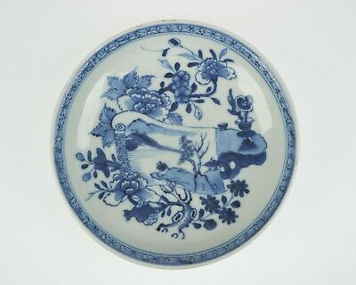 Antique 18thc. Chinese blue and white porcelain dish painted with scroll