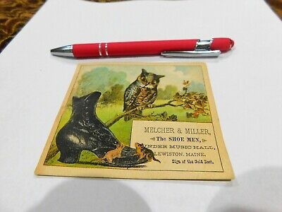 Melcher & Miller Lewiston Maine Mens Shoes Advertising Trade Card Owl