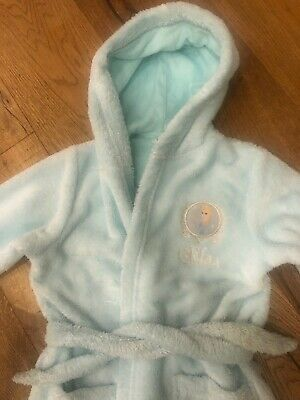 Girls M&S Disney Frozen Elsa dressing gown Bathrobe Blue Sparkly age 7/8 VGC
