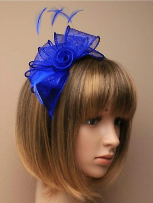 Royal Blue Headband Aliceband Hat Fascinator Wedding Ladies Day Race Royal Ascot