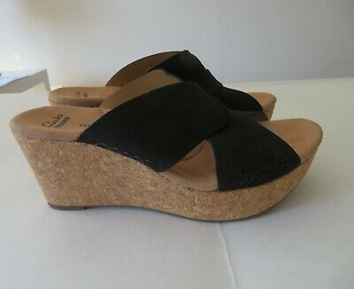 Details about CLARKS Collection Soft Cushion Black Open Toe Cork Wedge Sandals Womens Sz 8W