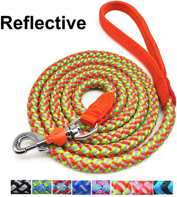 Mycicy Rope Dog Lead - 4 feet/ 6 feet Reflective Nylon Braided Dog Leash Heavy *