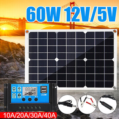 60W 12V Solar Panel USB Battery Charger Car RV Boat Home+10/20/30/40A Controller