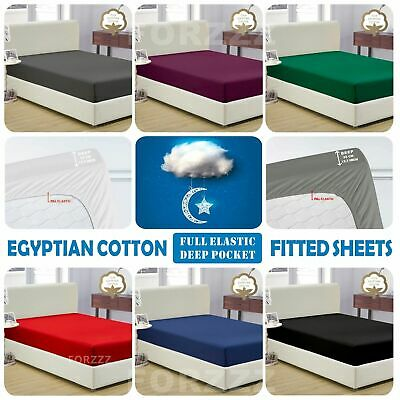 1200TC Egyptian Cotton Fitted Sheet Single K Single Double Queen Super King Bed