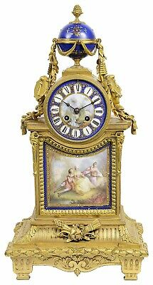 A good quality French 19th century gilded ormolu mantel clock with Sevres style
