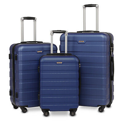 Luggage Suitcase 3 Piece Set Hardside Lightweight Spinner Suitcase Wheels Blue