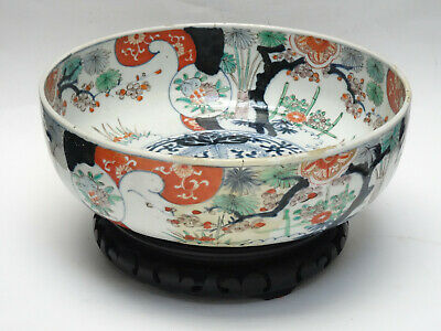 LARGE ANTIQUE 19 c. MEIJI IMARI BOWL with STAND ~ 12""