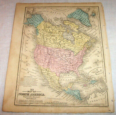 1852 North America Map Hand-colored  Forts American Indians Canada Arctic Alaska