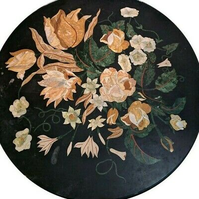 "36"" Black Marble coffee Table Top Pietra Dura Inlay work"