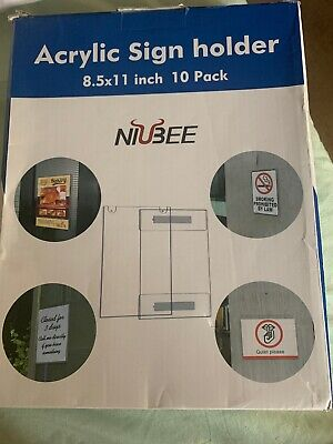 Niubee 8.5x11 Inch Wall Mount Acrylic Sign Holder With 3M Tape Adhesive 10 Pack