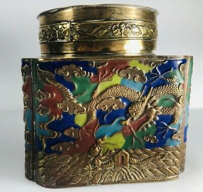 Chinese Brass Enamel Lidded Jar Antique Trinket Tea Box Cloisonné Flying Dragons