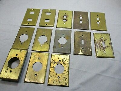 12 Vintage Electrical Brass Outlet & Switch Plates