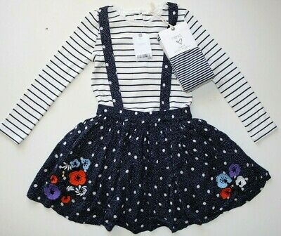 Next - White Navy Floral Pinafore Dress Blouse Outfit  - Girls 4-5 Years - New
