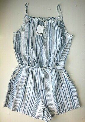 Next - White Blue Striped Cotton Playsuit Jumpsuit Outfit - Girls 16 Years - New