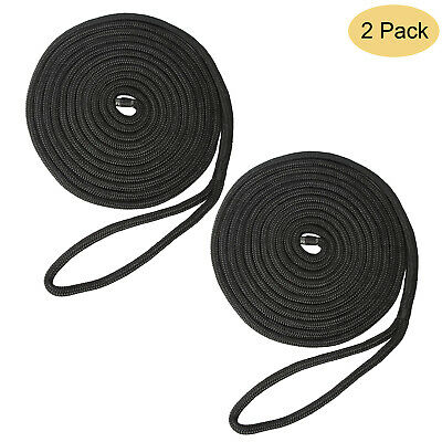 NovelBee 3//8 Inch X 100 Feet Double Braid Nylon Anchor Line with Stainless Steel Thimble and Plastic Chuck