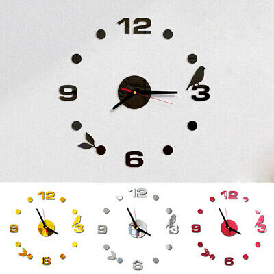Large Wall Clock Modern Design 3D Wall Sticker Clock Silent Home Decor Quartz UK