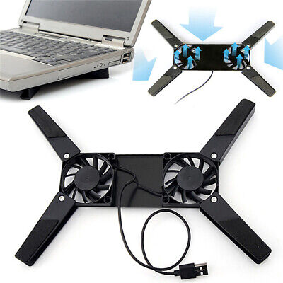 Foldable Dual Cooling Fan Notebook Laptop Desk Support Computer Stand USB Holder