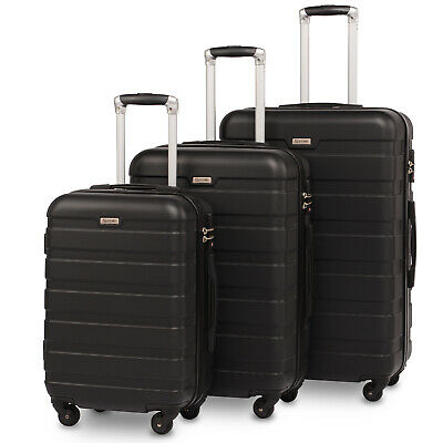 Luggage Suitcase 3 Piece Set Hardside Lightweight Spinner Suitcase Wheels Black