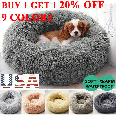 Fur Donut Cuddler Pet Calming Bed Dog Beds Soft Warmer Medium Small Dogs Cats AA