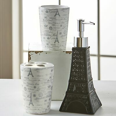 Paris Sink Set with Toothbrush Holder, Soap/Lotion Pump Dispenser, Tumbler