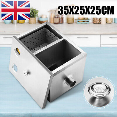 Commercial Kitchen Grease Trap Stainless Steel Interceptor Filter 35x20x20cm USA