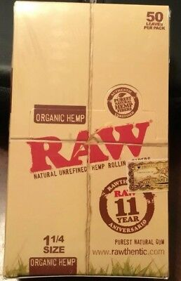 RAW Unrefined Natural Organic Hemp(24 Packs)Box Vegan Rolling Papers 1 1/4*1.25