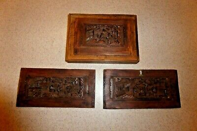 Antique Chinese Wood Carved Box Cover Top & 2 Sides Only