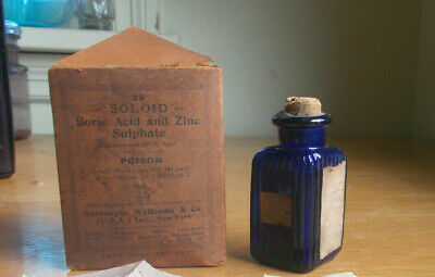 Cobalt 3 Sided Ribbed Poison Bottle & 3 Sided Box Burroughs Wellcome & Co Ny