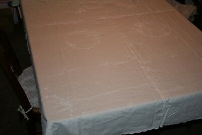 """vintage tablecloth, cream/white embroidery, scalloped edges, 66"""" x 88"""""""
