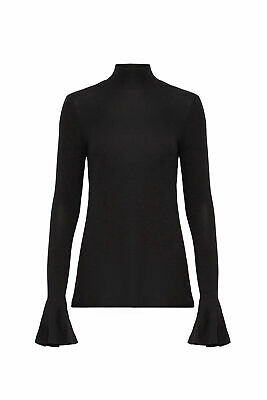 Badgley Mischka Black Women's Small S Mock Neck Bell Sleeve Knit Top $220- #424