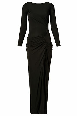 Badgley Mischka Black Women's US Size 2 Long Sleeve Draped Gown Dress $935- #790