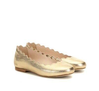 Chloe Kids Gold Metallic Leather Flats Size 34