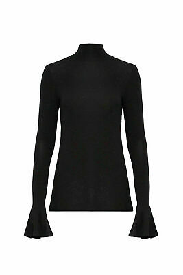 Badgley Mischka Black Women's Size XS Bell Sleeve Mock Neck Knit Top $220- #420