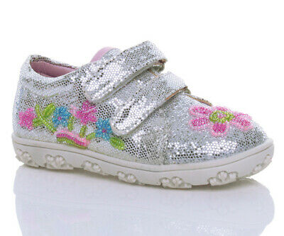 Girls Kids Childrens  Beaded Glitter Sequin Trainers Pumps Shoes Size 23