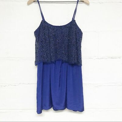 Silence and Noise Size Small Blue Sparkly Beaded Mini Dress Royal Blue Navy Blue