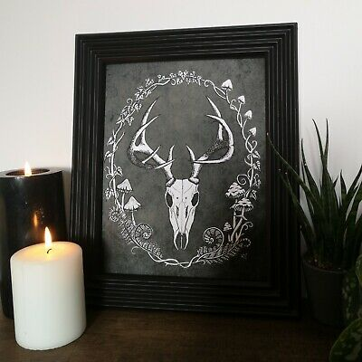 Deer Skull Print Wall Art Gift Gothic Home Decor Black White Goth Stag Drawing