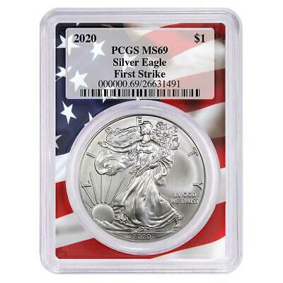 2020 $1 American Silver Eagle PCGS MS69 First Strike Flag Frame