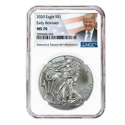 2020 $1 American Silver Eagle NGC MS70 ER Trump Label