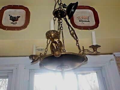 French Empire Antique Bronze (4) Swans Chandelier With Ornate Jeweled Chain