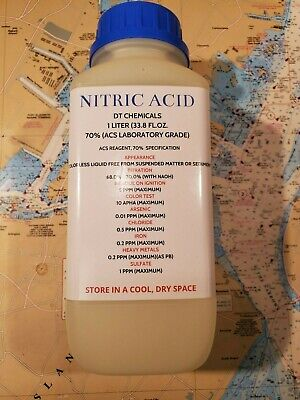 DT NITRIC 70% ACID, 1 LITER 34oz, HIGH PURITY HNO3 FOR GOLD AND SILVER REFINING