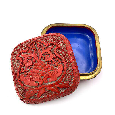 Antique Red Lacquer Chinese Carved Cinnabar and Blue Enamel Box